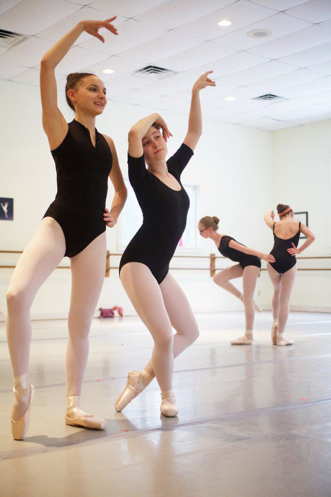 "Taylor Ann Messerman and Sarah Meyer Waldo rehearse ""The Flamingos"" - photo by Troy R. Bennett"